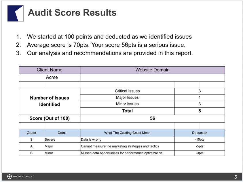 Principle Google Analytics Audit Score Example