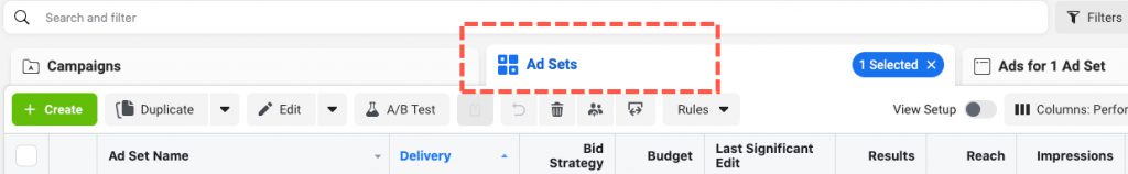 Facebook Ad Set menu